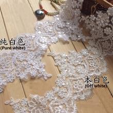 3Yd White Black Colors Beaded Cording Wedding Cording Lace/ Sequin Flower Venise Lace Trim DIY Craft 15cm Width