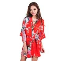 جديد أحمر مثير البسيطة سيدة الصيف حمام رداء ثوب الحرير رايون كيمونو يوكاتا فستان زهرة نوم الحجم sml xl xxl xxxl a011