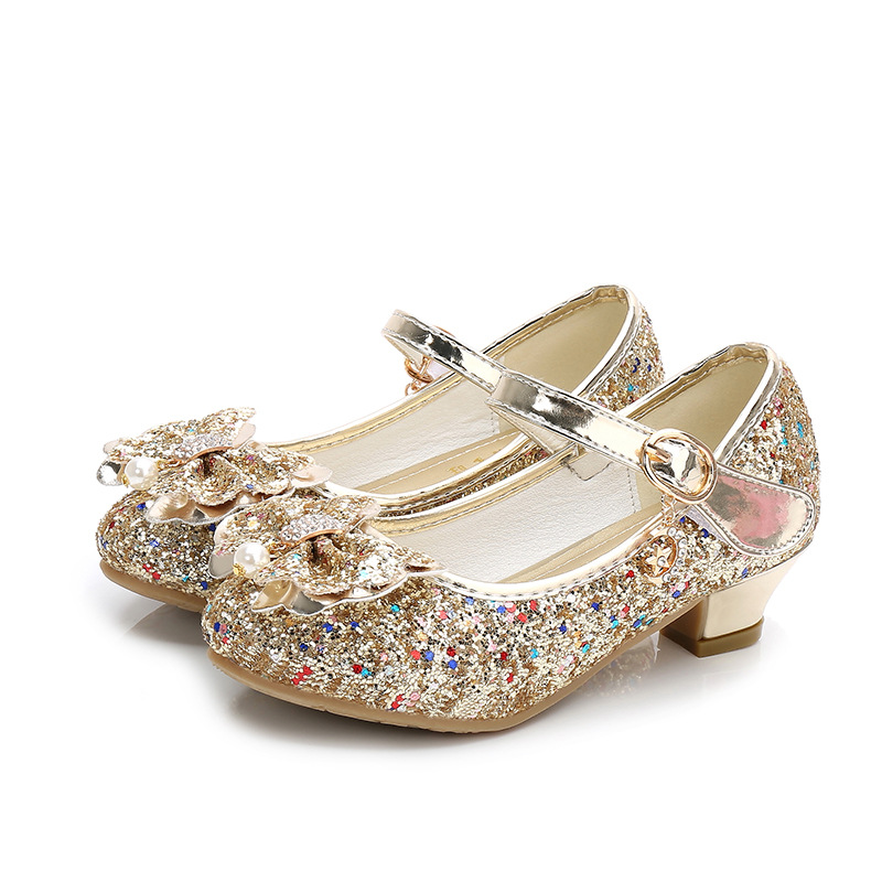 ULKNN Autumn Baby Girls Shoes For Children Princess Butterfly Flower Pearl Glitter Casual Leather Kids Shoes Purple Pink Gold
