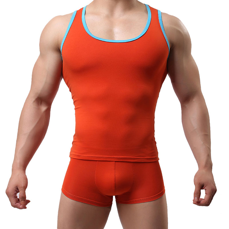 Brand   Tank     Tops   Men Sexy Fitness Cotton Vest Man Shirts   Tops   Male   Tank     Top     Tanks   Gay Wear Designed Shirt Solid Color Sleepwear