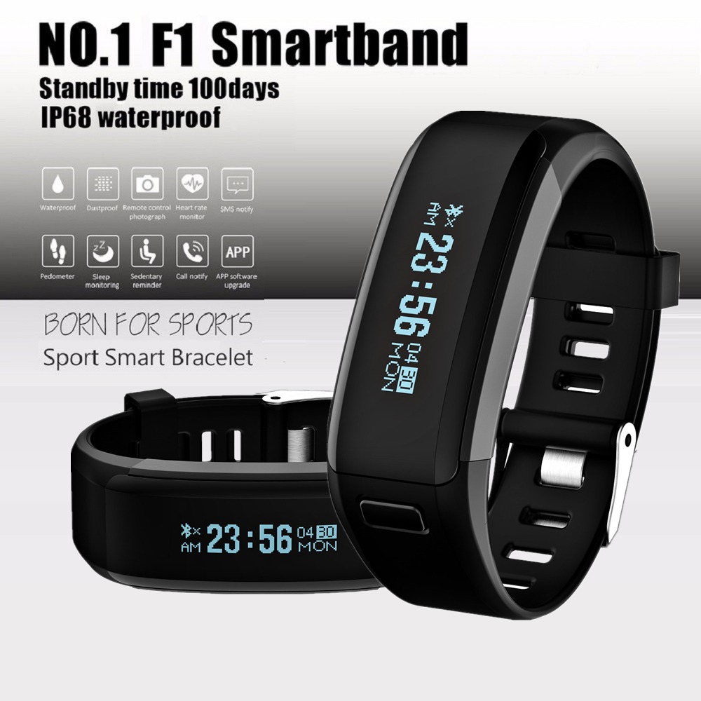 DTNO.1 F1 Heart Rate Monitor Smart Wristband Fitness Tracker Bracelet IP68 Waterproof Smartband PK MI Band 2 for Android iOS
