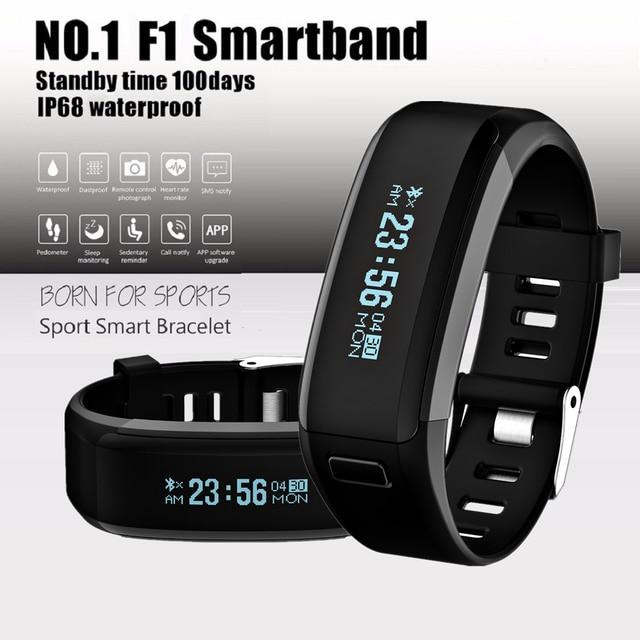 DTNO.1 F1 pulseira Rastreador De Fitness Monitor de Freqüência Cardíaca Inteligente IP68 à prova d' água Inteligente MI Banda Banda PK 2 para Android iOS telefone