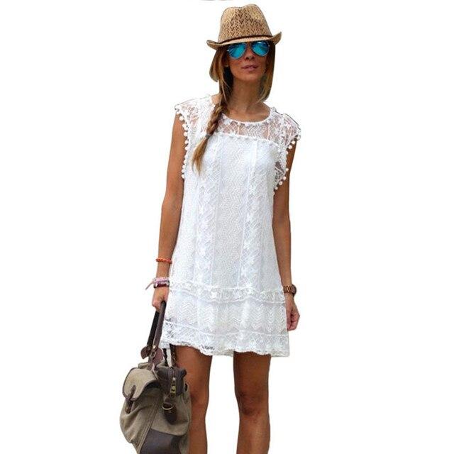 cf5e5ab50f 2017 Summer White Lace Beach Dress Women O-Neck Tassel Ball Dresses Hollow  Out Sexy