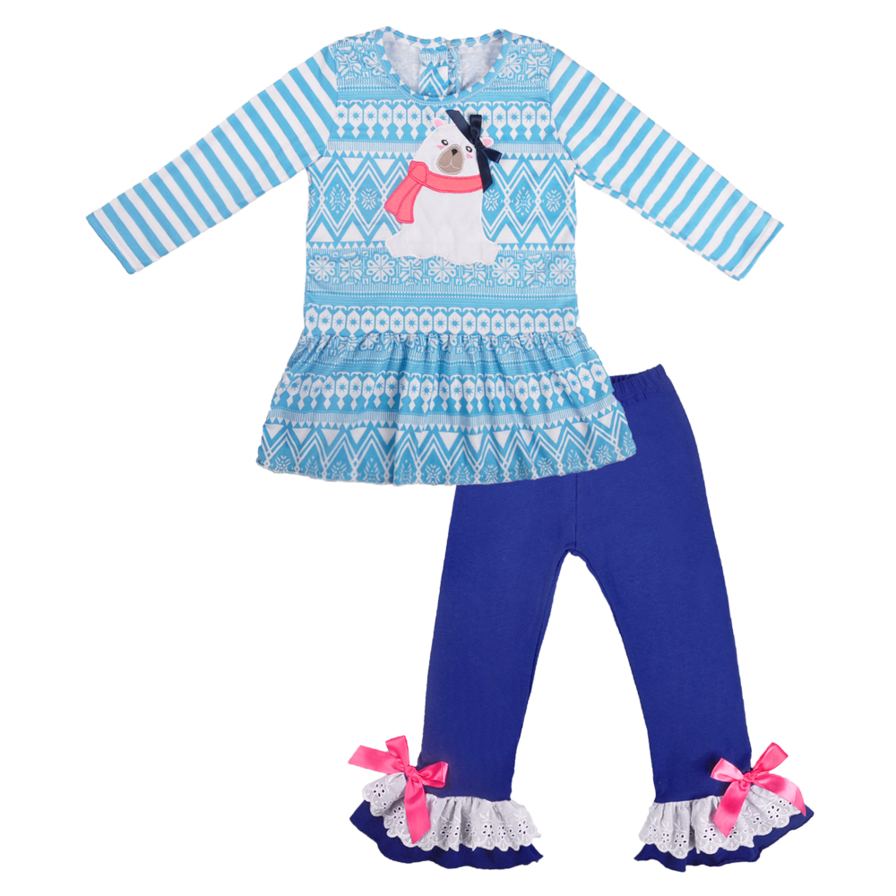 Blue Outfit Autumn Cotton Baby Clothes Kids Winter Season Ruffle Girl Bear Pattern Boutique Clothing Matching Romper 2gk809 742