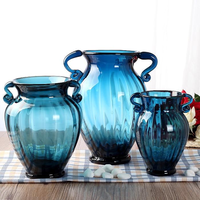 Mode blau glasvase hydroponischen getrocknete blumen vintage ...