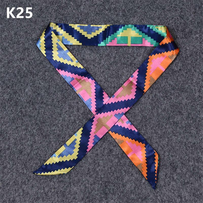 20 colori Nuove Donne di Stampa Sciarpa di Seta 2019 di Modo di Sacchetto della Maniglia Del Nastro Sciarpa di Marca di Seta Piccola Di Seta Fascia Dei Capelli Del Nastro Archi lunghe sciarpe