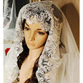 Bridal Veil Cathedral Long Muslim 2.8 Meter Luxury Silver Lace Wedding Accessories 2016