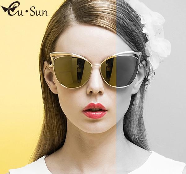купить Luxury Fashion Cat eye sunglasses for women High quality alloy frame lens Prevent sun Glasses oculos de sol