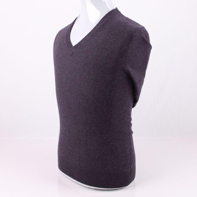 100% Kaschmir Stricken Männer Grundlagen Pullover Pullover Vneck Einfarbig Eu/s105-3xl130 Einzelhandel Großhandel Jade Weiß
