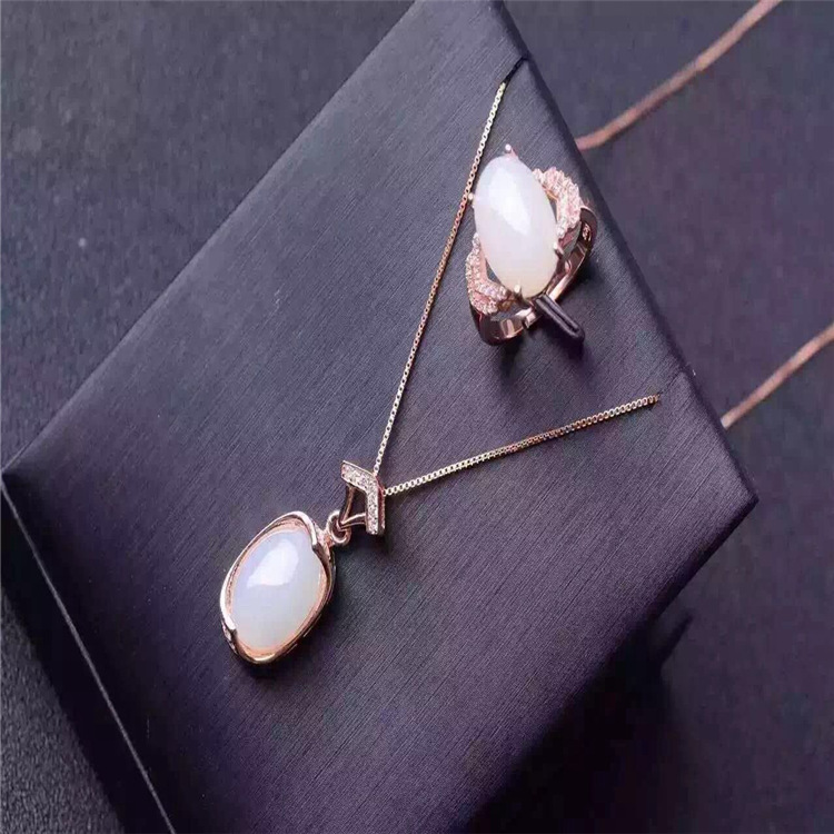 925 collier en argent Sterling pendentif bague en jade blanc naturel collier pendentif bijoux en argent véritable luxe forage complet micro inl