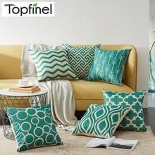 Topfinel с геометрическим узором Чехлы для подушек Quatrefoil Бирюзовый льняной бросок наволочка для подушки Кровать Декоративные подушки диван холст