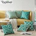 Topfinel с геометрическим узором Чехлы для подушек Quatrefoil Бирюзовый льняной бросок наволочка для подушки Кровать Декоративные подушки диван хо...