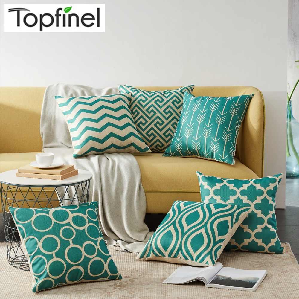 topfinel geometric cushion covers quatrefoil teal turquoise linen throw pillow case bed decorative throw pillows sofa canvas