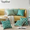 Topfinel Quatrefoil Teal Turquoise Throw Pillow Case Decorative Cushion Covers Geometric Throw Pillows Sofa Linen Scandinavian