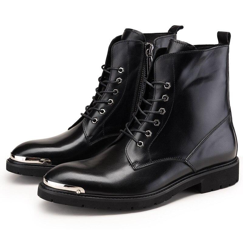 Combate Vaquero Montar Piel De Zapatos Cuero fósforo Del Hombres Botas Altos Todo Genuino Vaca Negro Los w604q