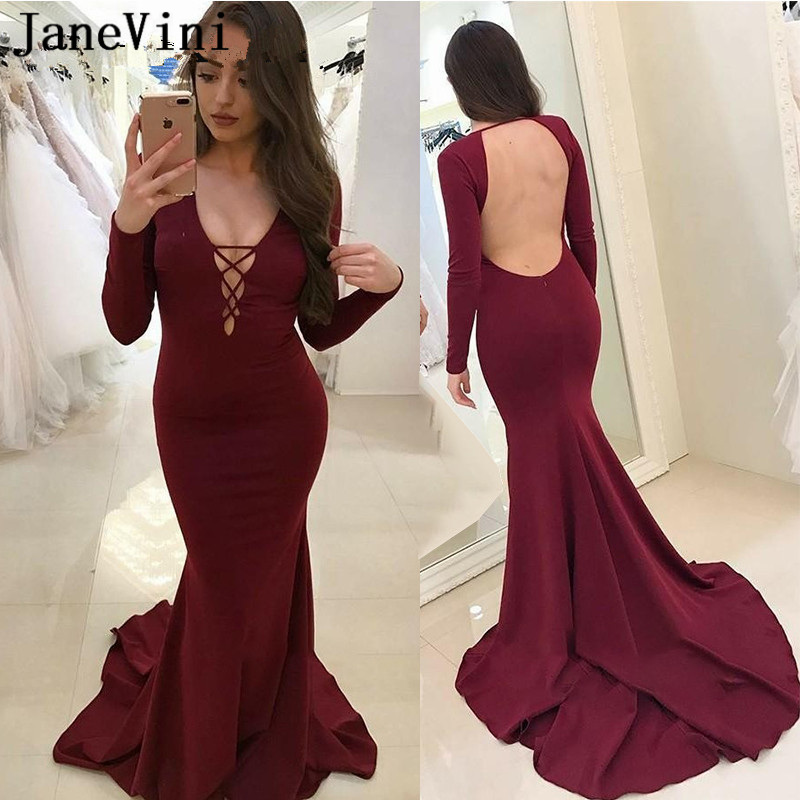 JaneVini Sexy Mermaid Burgundy   Prom     Dresses   2019 V Neck Long Sleeves Open Back Plus Size Satin   Prom     Dress   Vestido De Formatura