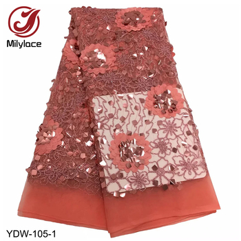 New French Laces Fabric 3D Big Gleamy Sequins Flower Embroidery African Lace Fabrics High Quality 2019 for Wedding YDW-105
