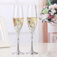 2 PCS /Set Crystal Wedding Toasting champagne flutes glasses Drink CupParty marriage Wine decoration cups parties Gift box