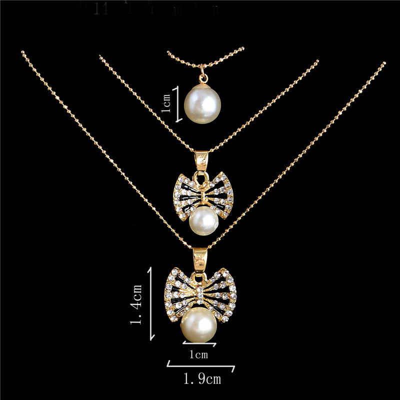 Hesiod Butterfly Jewelry Sets Wedding Bridal Simulated Pearl Crystal Multi-layer Chain Necklace Earrings Sets for Women