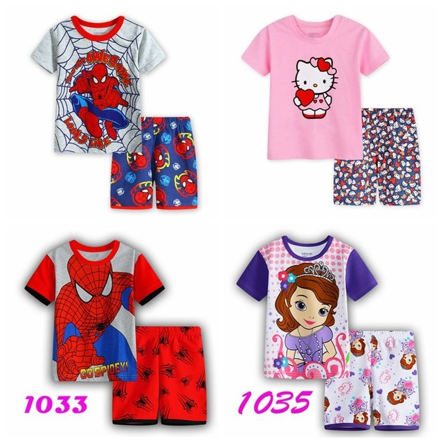 db5133ef78c2 Kids Pajama Sets Cartoon Boys Sleepwear 2 7 Years Girls Pijamas Suit ...
