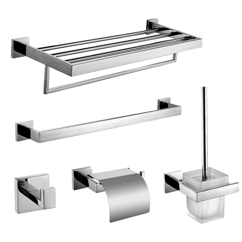 Modern Sus304 Square Base Bathroom Accessories Polished