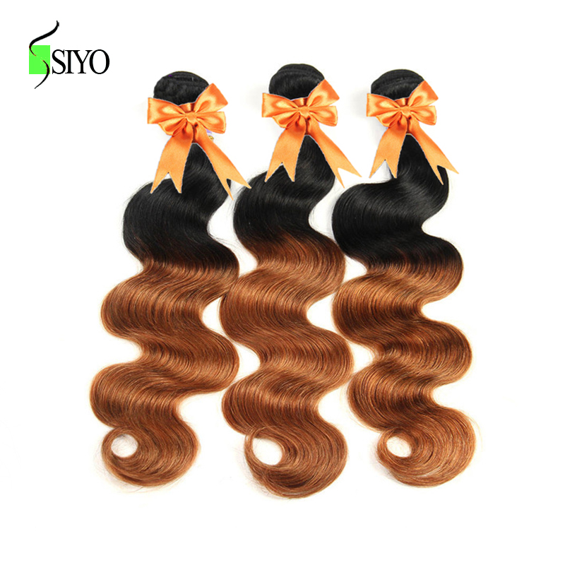 SIYO Hair Pre-Colored Peruvian Body Wave Weave Human Hair Bundles Ombre Two Tone Hair Extensions 3 Pieces Nonremy 1B/30