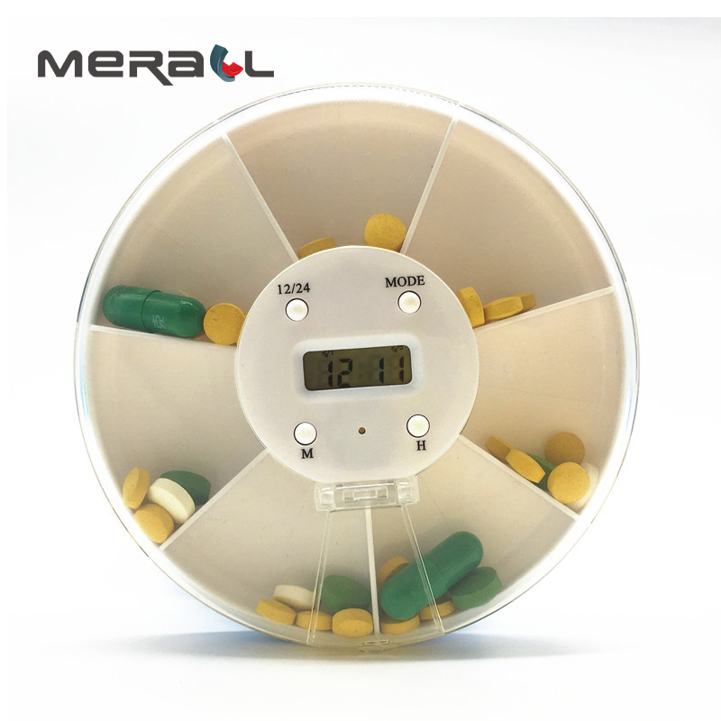 Smart Electric Portable Pill Case Seven Days Timer Divider Tablets White Digital Round Medicine Container people Travel tools | healthy feet socks