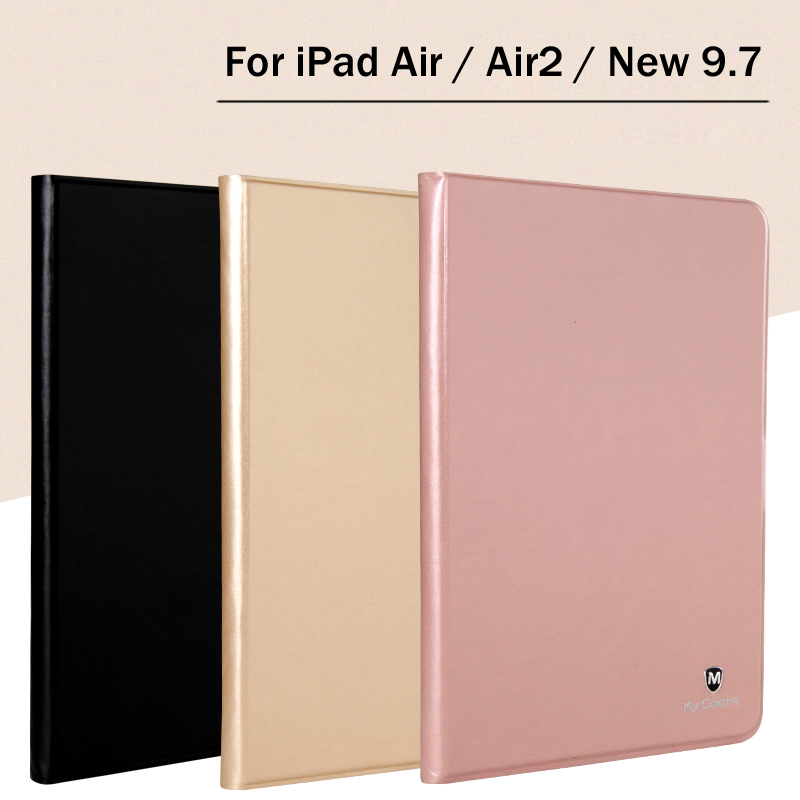New 2017 For iPad 9.7 / Air / Air2 High-quality case Cover Magnetic TPU Leather Stand Cases For iPad 5 / 6 / Air 2 +Film +Stylus nice soft silicone back magnetic smart pu leather case for apple 2017 ipad air 1 cover new slim thin flip tpu protective case