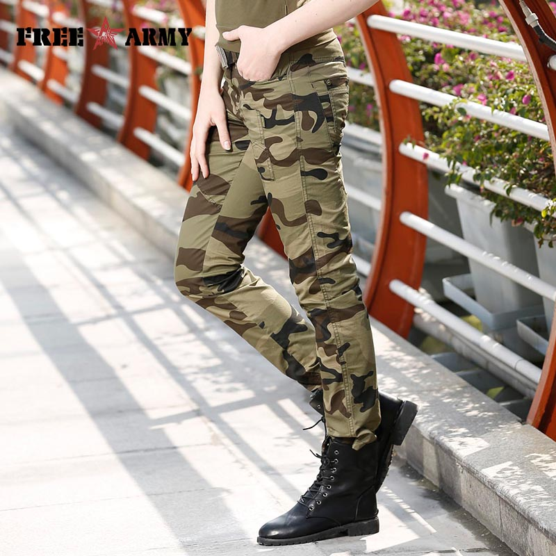Moda Žene maskirne hlače ženske vojne tereta olovka pant Slim - Ženska odjeća - Foto 3