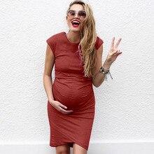 Женское модное однотонное удобное платье средней длины без рукавов для беременных