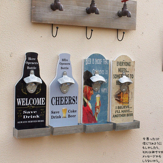 Vintage American Country Wall Mounted Bottle Opener Bar Cafe Supply Openers Gadget Decors Multi Functions