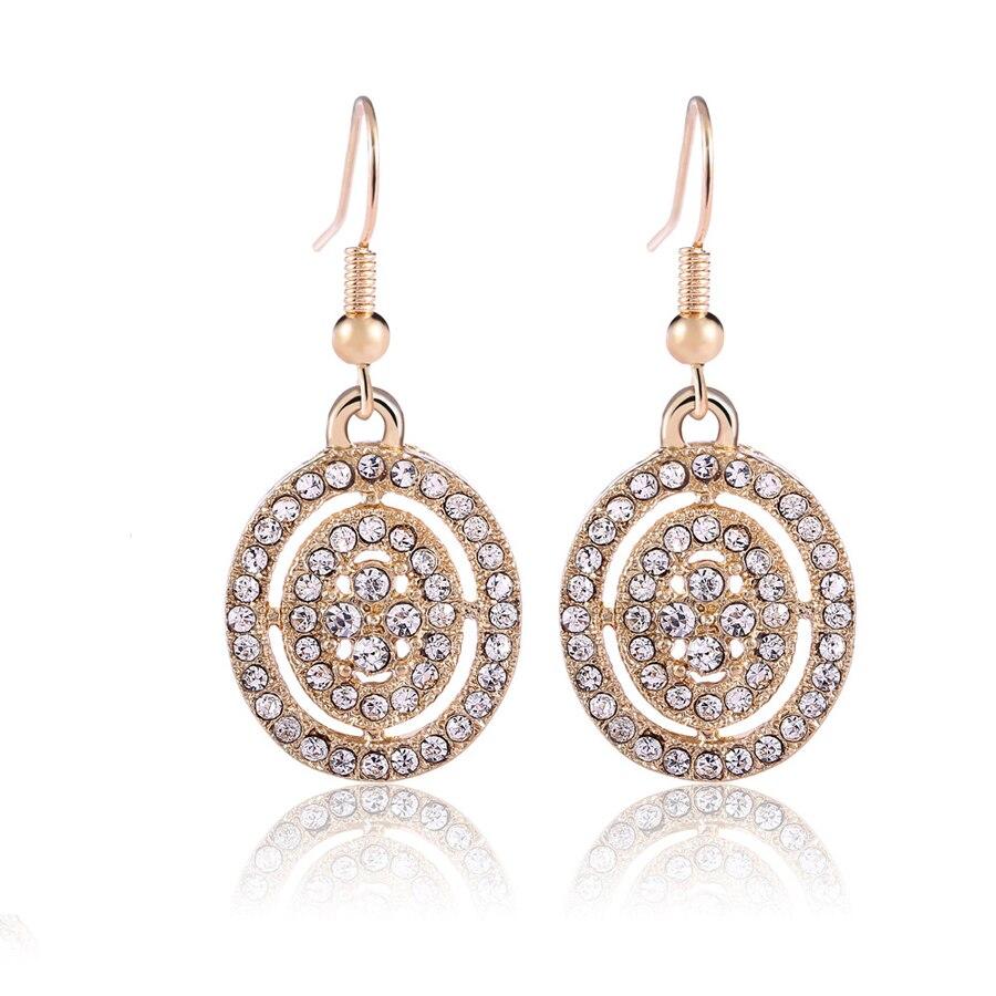 e15ea7309f92 Corea Del sur joyas de cristal Austriaco elíptica colgante gold filled Stud  Pendientes de la joyería para la boda