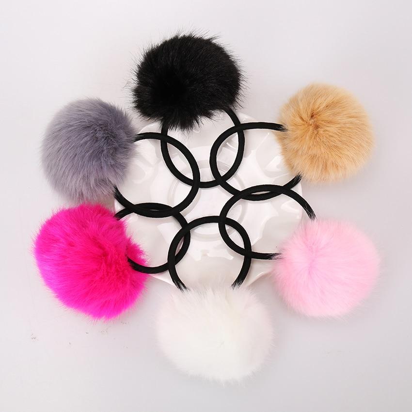 6PCS Artificial Rabbit Fur Ball Elastic Hairs