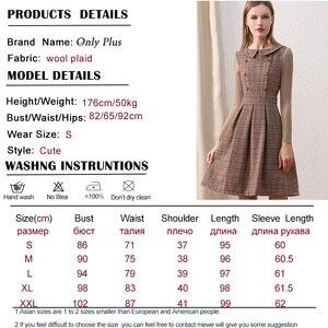 Image 5 - Женское шерстяное платье Only plus, коричневое винтажное платье с воротником Питер Пэн и пуговицами, трикотажное платье с длинными рукавами для зимы