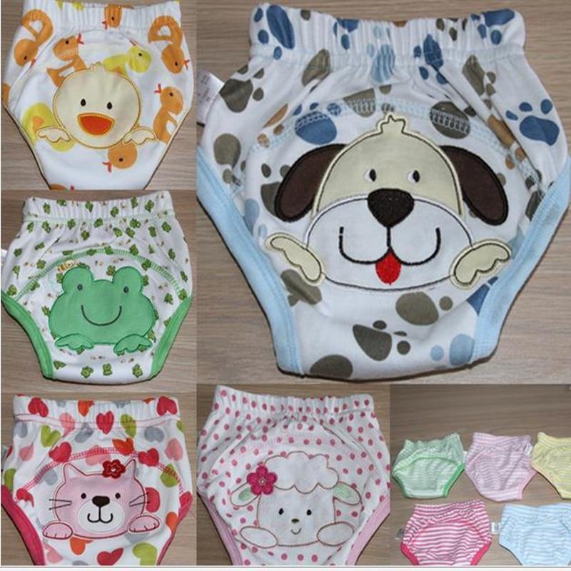 4 परतों धो सकते हैं कपास बेबी प्रशिक्षण पैंट शिशु शॉर्ट्स लड़का लड़की डायपर Bebe Nappies कार्टून अंडरवियर सांस SY007-2