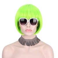 Anxin krótkie syntetyczne zielony peruki dla kobiet z grzywką Bob peruka Party halloween kobieta peruka producent chiny