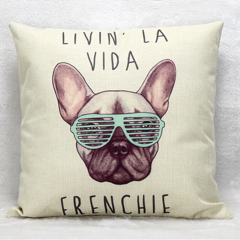 frenchie linen cotton cushion wihtout inner french bulldog animal pillow pattern design  ...