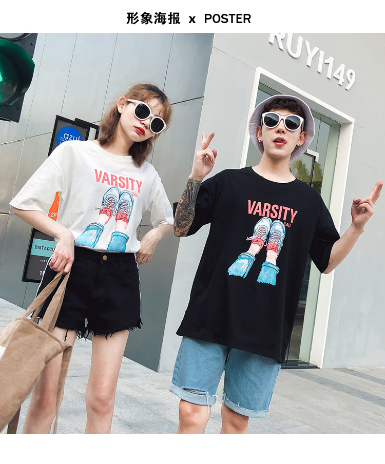71233434 Lovers T-Shirts Couple Clothes Female Male Preppy Style Hot Casual Printed  Tops Cute Sweet Korea Japan Matching Couple T Shirts ...
