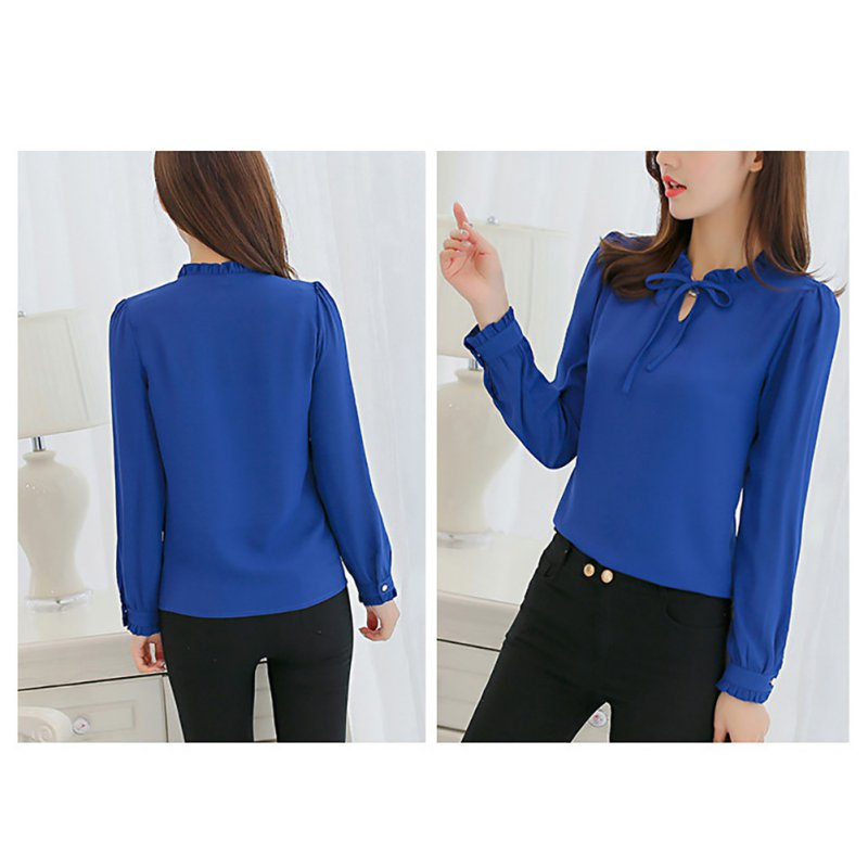 New Women Shirts Long Sleeve Stand Collar Bow Blouses Ladies Chiffon Blouse Tops Fashion Office Work Wear