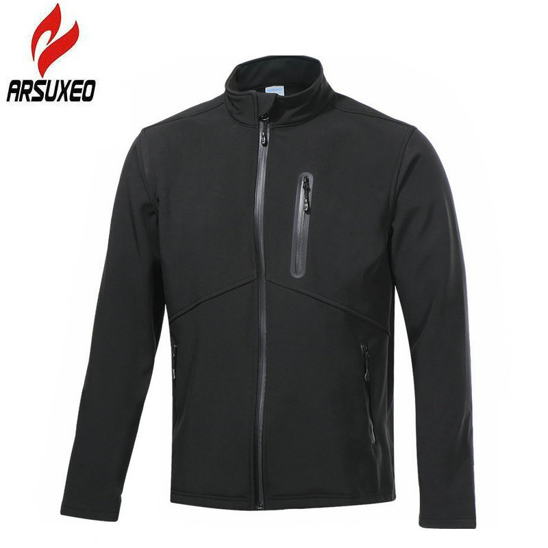 цена ARSUXEO 2018 Fleece Cycling Jacket Winter Warm Up Bike Clothing Windproof Waterproof Sports Coat Cycling Jersey Cycling Gilet онлайн в 2017 году
