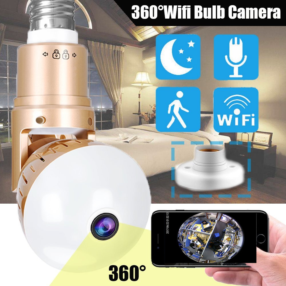 UCYBO Bulb lamp wifi ip camera 1080P wireless Panoramic 360 fish eye 2mp smart home cctv security light surveillance ip cameras