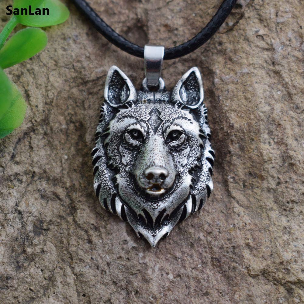 SanLan 1pcs Wolf Head Necklace Pendant Animal Power Norse Vis
