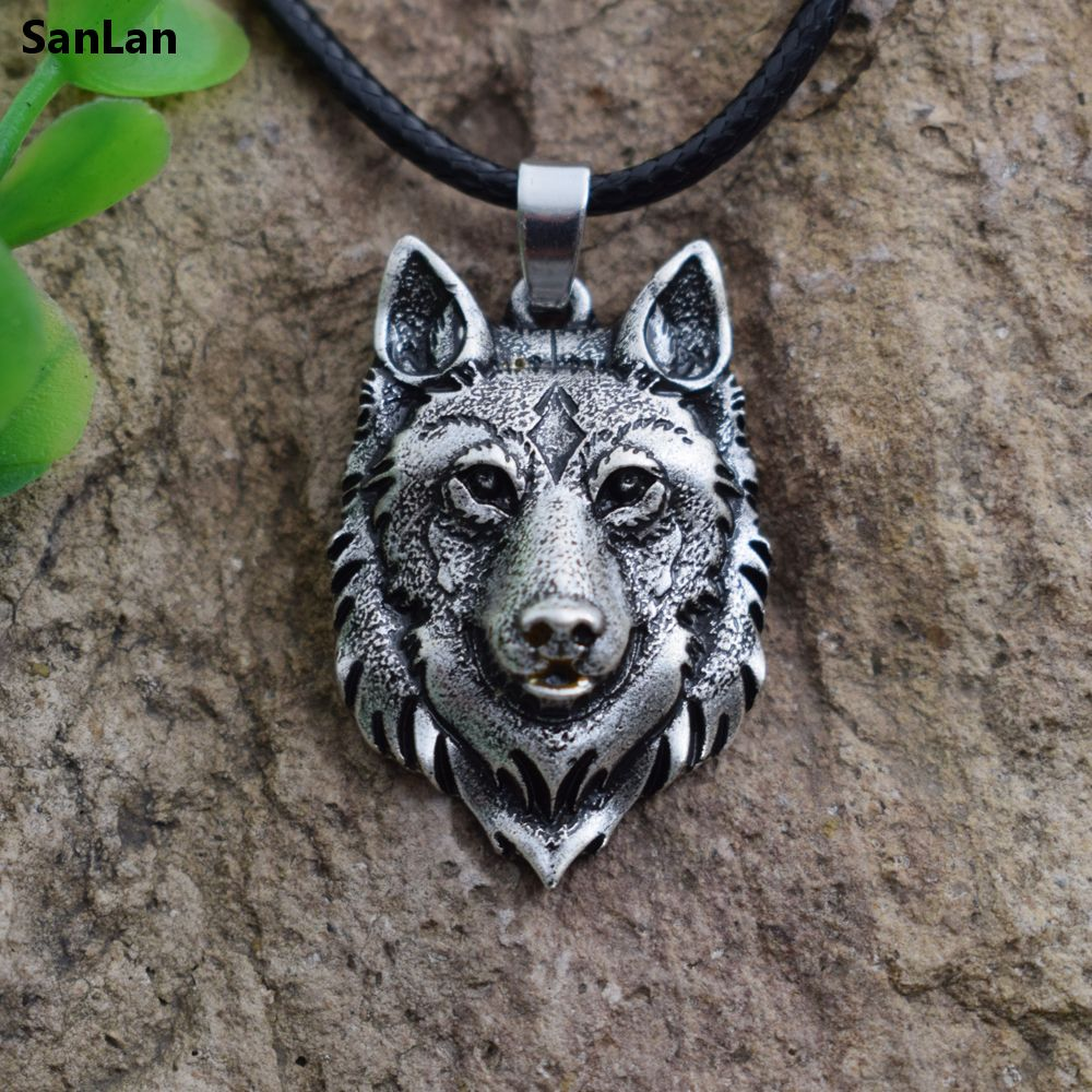 SanLan 1pcs Wolf Head Necklace Pendant Animal Power Norse Vi