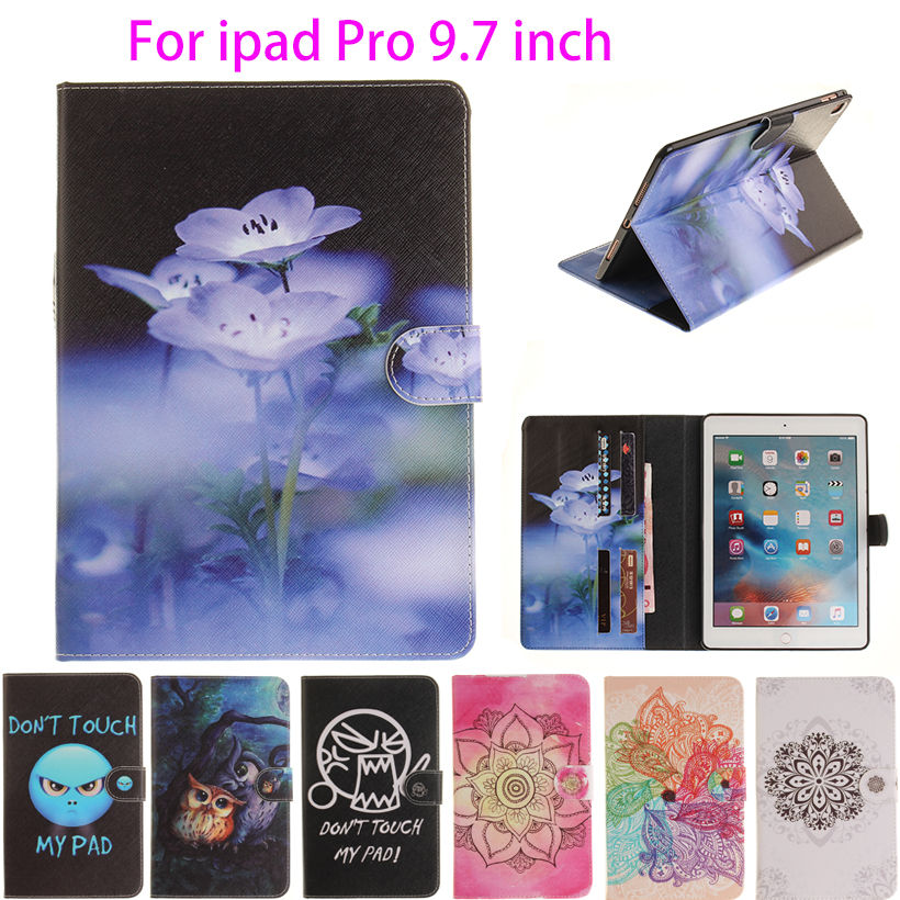 Fashion High Quality Painted With Stand Flip PU Leather sFor iPad Pro Case For Apple iPad Pro 9.7 inch Smart Case Cover Shell high tech and fashion electric product shell plastic mold