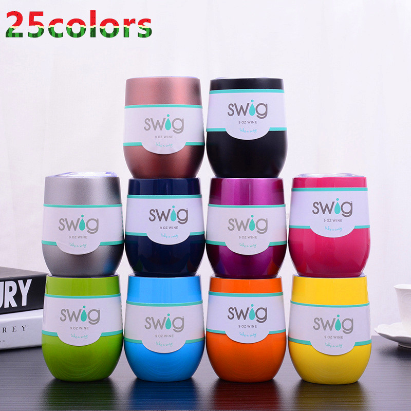 Fast Shipping Wine Beer Cup 25pcs lot Swig 9OZ Egg Shaped Cup 304 Stainless Steel Wine