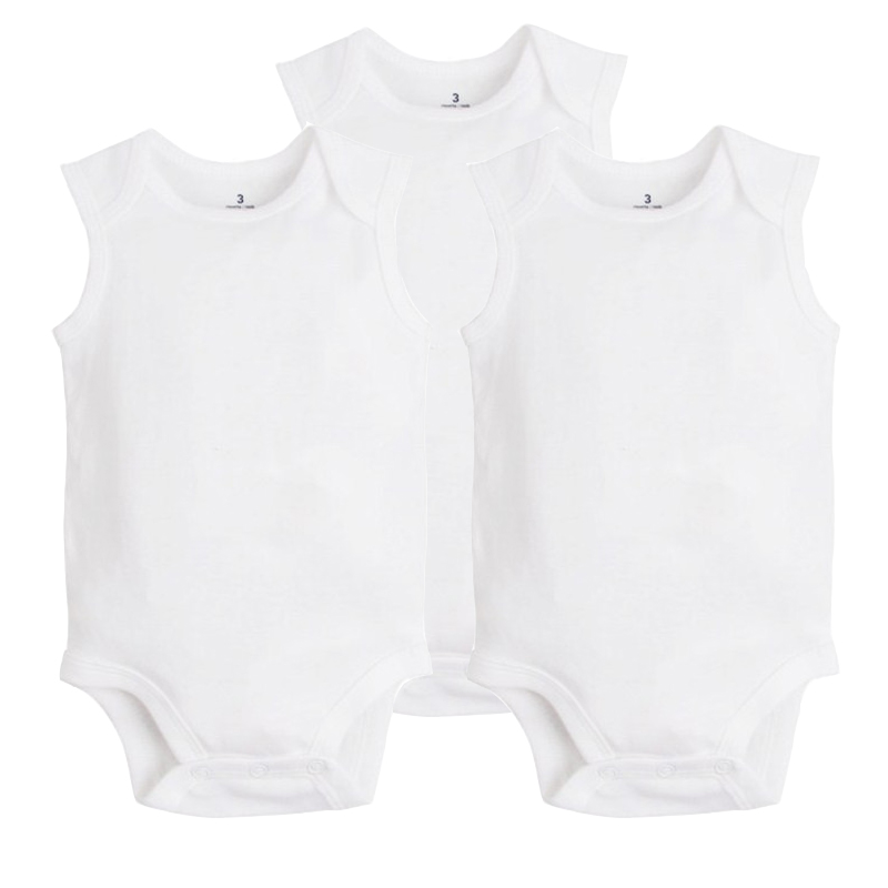 3Pcs/Lot 2017 New Fashion Baby Gilr Boy Clothes Summer Sleeveless Newborn Baby Clothing 100% Cotton White Color Baby Bodysuits