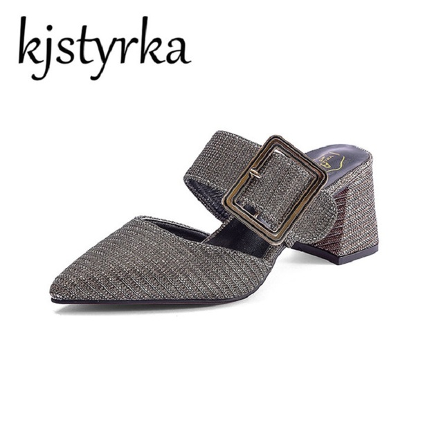 Kjstyrka New 2018 Women Luxury Mules Slippers High Heel Square Buckle Pointed  Toe Half Slippers Ladies Fashion Shoes Mujer 5afd0cc1c38a