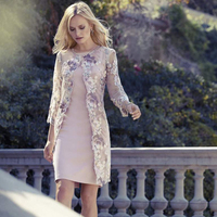 Knee Length Short Mother Of The Bride Dresses With Lace Jacket Bateau Neck Embroidery Flower Wedding Guest Dress Plus Size