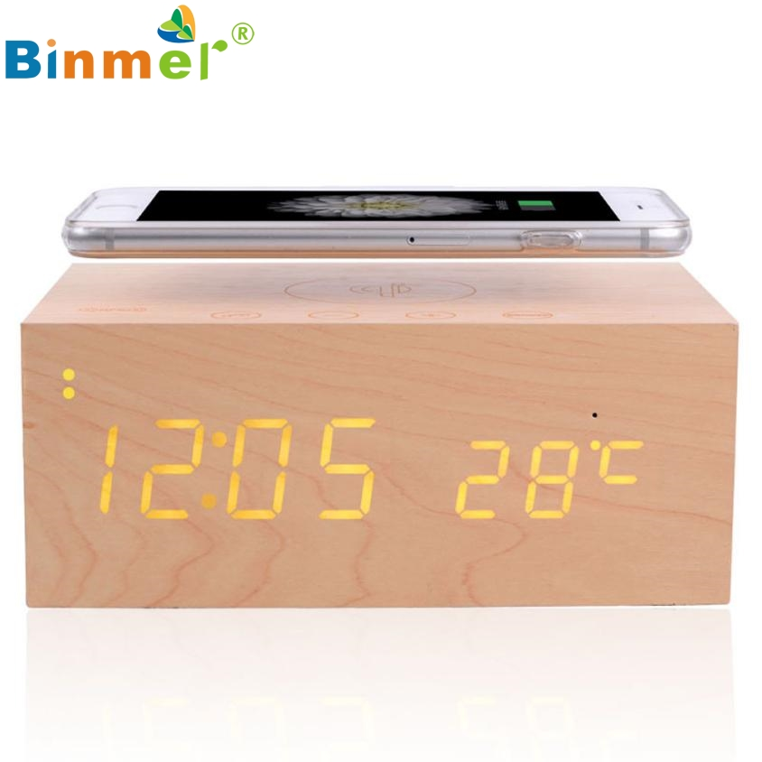 ФОТО Beautiful Gift New Wood Bluetooth NFC Stereo Speaker LED Snooze Alarm Clock with Wireless Charging Wholesale price May10