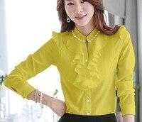 2014 Spring Autumn Fashion Patchwork Laciness Elegant Chiffon Pleated Blouses Crochet Flower Lace Long Sleeve Shirt
